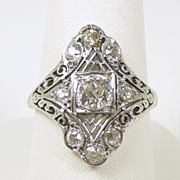 Belais Brothers Art Deco FIligree Diamond and 18kt. Gold Fashion Ring c. 1920