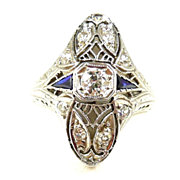 Delectable Art Deco Filigree Diamond & Sapphire Belais Ring c. 1915