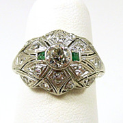 Art Deco Platinum Diamond & Emerald Ladies Ring