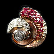 Retro Modern Gold, Platinum, Ruby & Diamond Fashion Ring