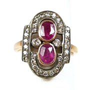 Perfect Victorian Diamond and Ruby Ladies Fashion Ring