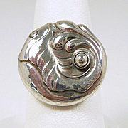 "Charming Vintage Georg Jensen Sterling ""Fish"" Ring #63 c. 1945+"