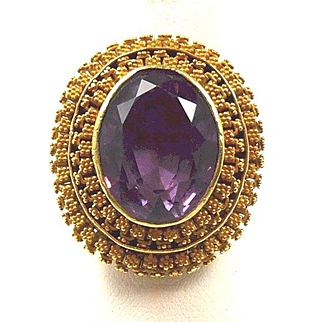 Gorgeous Granulated Gold Victorian Ring by Charles Packer c. 1860