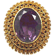 Gorgeous Etruscan Revival Granulated Gold Victorian Ring by Charles Packer c. 1860