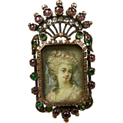 Poetic Georgian Painted Portrait Crown Ring c. 1780 Diamonds, Rubies, Emeralds
