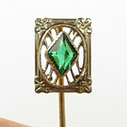Dynamic Edwardian Tourmaline Stickpin in White & Yellow Gold
