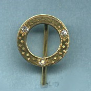 "Dramatic ""Circle of Life"" Art Nouveau Engraved Diamond and Gold Stickpin c. 1890"