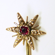 Star Burst Victorian Stickpin with Garnet in 14KT. Gold c. 1875