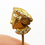 Victorian c. 1890 Figural Renaissance Lady Head Stickpin with Pearls in 14KT. Gold