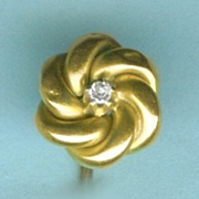 """Lover's Knot"" Victorian Diamond Stickpin in Gold C.1880"