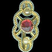 Fashionable Art Nouveau Garnet and Natural Pearl Stickpin c. 1890