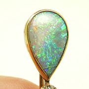 Dynamite Edwardian Black Opal and Diamond Stickpin / Hatpin c. 1910
