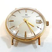 Sleek and Stylish Man's Hamilton Auto Gold Pan Back Wrist Watch c. 1960