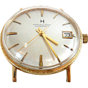 Sleek and Stylish Man's Hamilton Auto Gold Pan Back Wrist Watch c. 1960