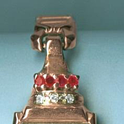 Remarkable Retro Modern Rose Gold, Ruby & Diamond Ladies Wakmann Brand Wrist Watch c. 1940