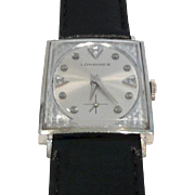 Dramatic Longines Gold Rectangular Case Watch c. 1965