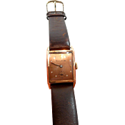 Dramatic Retro Rose Gold Vintage Bulova Tank Watch c. 1940's