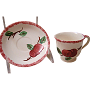 Blue Ridge Southern Pottery Demi Crab Apple Cup and Saucer