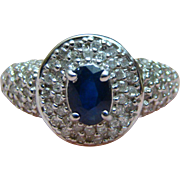 14K Sapphire and Diamond Ring 1.05 tcw - Size 8