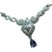 Art Nouveau Tanzanite Accent Drop And Diamond 10 Karat White Gold Necklace - Made in Italy