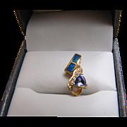 Opal, Trillion Cut Tanzanite and Diamond Pendant -14K Yellow Gold