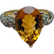 5 Carat  Madeira Citrine And Brown Chocolate Colored DIAMONDS Ring - 5.5 Carat total Weight -10k Yellow Gold