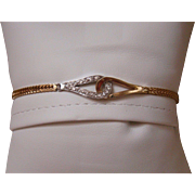 14k Diamond Bracelet - Yellow And White Gold - Solid Gold - 5.3 Grams