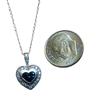 14k Sapphire and Diamond White Gold Pendant Necklace