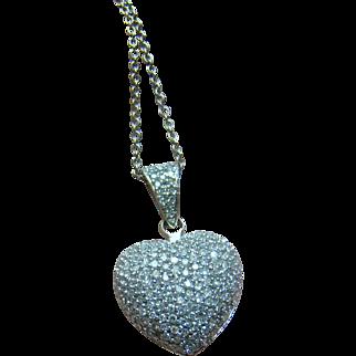 1 Carat Diamond Puffy Heart Necklace Pendant - 14K