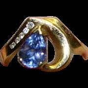 TANZANITE Ring - 1.5 Carat Tanzanite And Diamond Ring- 14k Yellow Gold - 1.75ctw - Size 6
