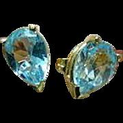 Blue Topaz 14K Yellow Gold Earrings - Pierced Ears
