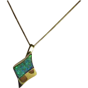 14k Inlay Opal Yellow Gold Pendant