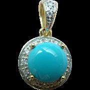 Levian Le Vian Diamond And Persian Turquoise Pendant - 14k Yellow Gold