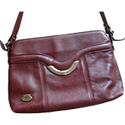 Vintage Designer Etienne Aigner Burgundy Red Leather Shoulder Bag Purse Handbag