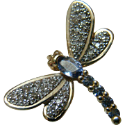 14K Tanzanite And Diamond Gorgeous Vintage Dragonfly Pendant