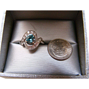 Blue Zircon Diamond Ring 1.85 TCW - 14K White Gold