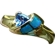 14K Opal Inlay And Tanzanite - Yellow Gold Ring - Size 6.75