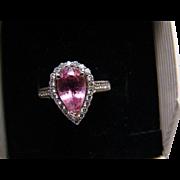18k Vintage Pink Tourmaline And Halo Diamond Ring - 3.22 TCW - Size 7
