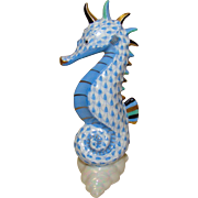 Herend Seahorse Blue Fishnet on Shell with 24K Gold Accents Handpainted Figurine