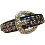 Levian 14k Honey Gold Chocolate And Brilliant White Diamonds Belt Buckle Designer Ring - 0.75 TCW