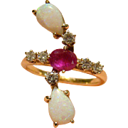 Opal, Ruby, Diamond Custom Made 14k Yellow Gold Ring 1.70 TCW - Size 8