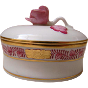 Herend Hand Painted Trinket Box With Pink Rose