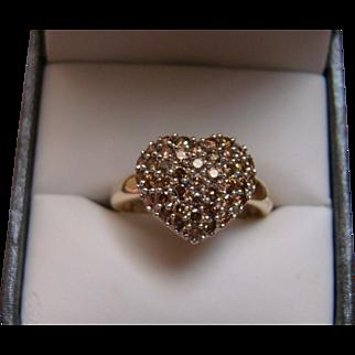 14k 1.25 CTW Champagne DIAMOND Ring - Size 8