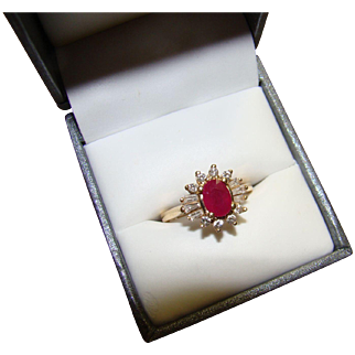 14K Ruby and Diamond Ballerina Yellow Gold Ring - Size 7