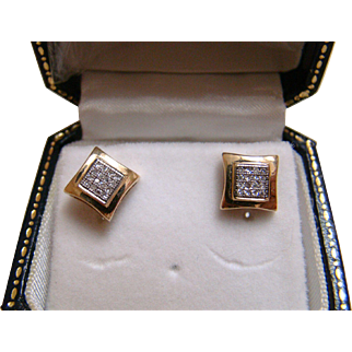 10k Diamond Yellow Gold Earrings
