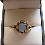 14K Opal and Diamond Yellow Gold Ring - Size 8.25