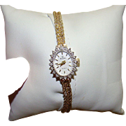 """14K ELGIN Diamond and Solid Yellow Gold WATCH and Band - Fits up to a 6"""" Wrist"""