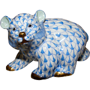 HEREND Hand Painted Baby Bear Cub walking porcelain figurine, blue fishnet, flawless