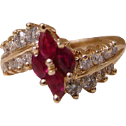 14K Diamond And Marquise Shaped Rubies Yellow Gold Ring  - Size 7