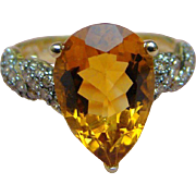 10K Five Carat Maderia Citrine and Brown or Dark Chocolate Colored Diamond Ring - 10K Yellow Gold